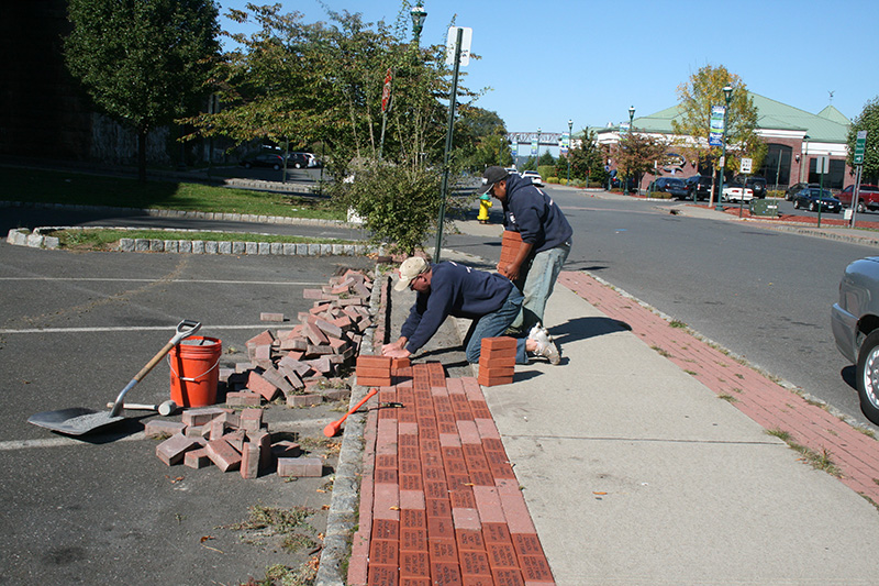 Placing the bricks on the Brick Walkway